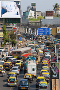 Traffic congestion on downtown highway to Bandra, Andheri and Santacruz and access route to the BKC Complex in Mumbai, India