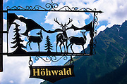 Sign for Gasthaus Hohwald hotel and restaurant in Klosters-Montbiel in Graubunden region, Switzerland