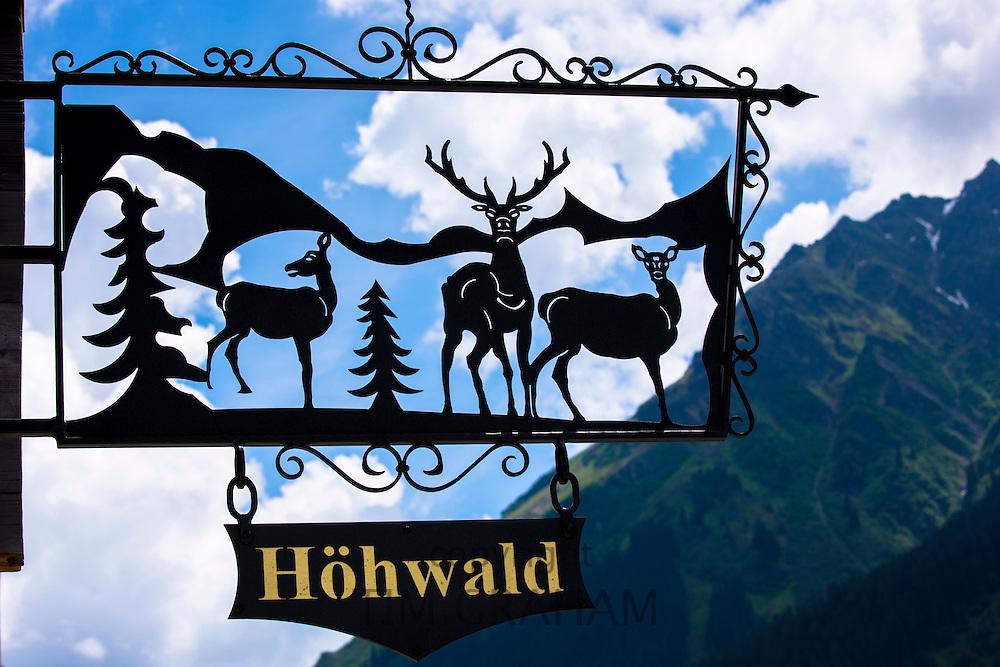 Sign for Gasthaus Hohwald hotel and restaurant in Klosters-Montbiel in Graubunden region, Switzerland