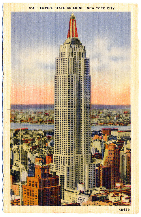 The Empire State Building -- the tallest building in the world when it was built in 1931 -- depicted in a linen-finish postcard from that era. From the Bill Wisser Postcard Collection.