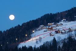 26.01.2013, Schladming, AUT, FIS Weltmeisterschaften Ski Alpin, Schladming 2013, Vorberichte, im Bild die beleuchtete Piste der Planai bei Vollmond am 26.01.2013 // race slope on Planai with flood light at full moon on 2013/01/26, preview to the FIS Alpine World Ski Championships 2013 at Schladming, Austria on 2013/01/26. EXPA Pictures © 2013, PhotoCredit: EXPA/ Martin Huber