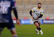 Wasps full back Lima Sopoaga looks upfield to kick during the Gallagher Premiership Rugby match Sale Sharks -V- Wasps  at The AJ Bell Stadium, Greater Manchester, England United Kingdom, Sunday, December 27, 2020. (Steve Flynn/Image of Sport)