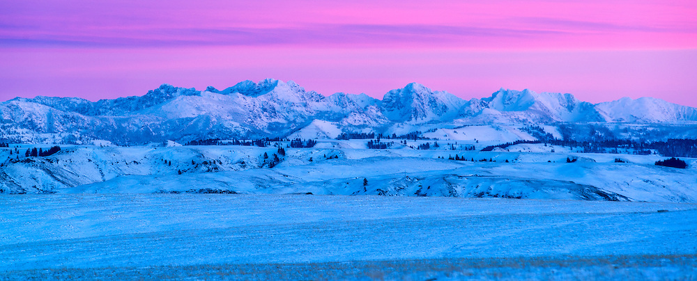 Winter sunset on Idaho's Seven Devils Mountains as seen from the Zumwalt Prairie in Northeast Oregon.