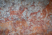 Human figures and wildlife depicted in San bushman rock paintings, estimated at around 2000 years old, in Nswatugi Cave in Matobo National Park, Zimbabwe.