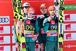 March 23, 2019 - Planica, Slovenia - Team Germany celbrating their second place at the Planica FIS Ski Jumping World Cup finals  on March 23, 2019 in Planica, Slovenia. From left: Team Germany, Team Poland and Team Slovenia. (Credit Image: © Rok Rakun/Pacific Press via ZUMA Wire)