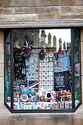 A shop selling Cambridge University souvenirs, Kings Parade, Cambridge, United Kingdom.