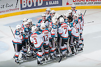 KELOWNA, CANADA - MARCH 27: The Kelowna Rockets celebrate the win against the Tri-City Americans  on March 27, 2015 at Prospera Place in Kelowna, British Columbia, Canada.  (Photo by Marissa Baecker/Shoot the Breeze)  *** Local Caption *** Rockets;