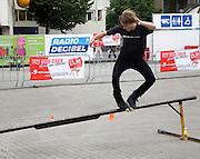 Roller blading Fit for Free Skate Jam youth event demonstration central Rotterdam, Netherlands