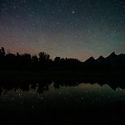 The stars over the Tetons in Grand Teton National Park near Jackson, Wyoming.
