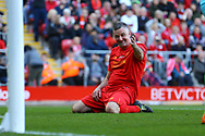 John Aldridge of Liverpool legends team reacts to missing a chance to score. Liverpool Legends  v Real Madrid Legends, Charity match for the LFC Foundation at the Anfield stadium in Liverpool, Merseyside on Saturday 25th March 2017.<br /> pic by Chris Stading, Andrew Orchard sports photography.