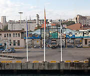 Ferry terminal in the port of Ceuta, Spanish territory in north Africa, Spain