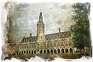 This digital art collage is the library of the Katholieke Universiteit Leuven (Catholic University of Leuven) or KU Leuven. The library takes pride of place at the head of the Oude Markt (Old Market Square) and is a stunning piece of architecture.