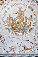 Roman mosaic panel of the Triumph of Neptune and  the mytrhical legend of The Four Seasons. From the private baths at Caput Vada (La Chebbs). End of the reign of Antoninus Pius, 138-161 AD. From Cheba, Tunisia.  The Thugga Room of The Bardo Museum, Tunis, Tunisia. .<br /> <br /> If you prefer to buy from our ALAMY PHOTO LIBRARY  Collection visit : https://www.alamy.com/portfolio/paul-williams-funkystock/roman-mosaic.html - Type -   Bardo    - into the LOWER SEARCH WITHIN GALLERY box. Refine search by adding background colour, place, museum etc<br /> <br /> Visit our ROMAN MOSAIC PHOTO COLLECTIONS for more photos to download  as wall art prints https://funkystock.photoshelter.com/gallery-collection/Roman-Mosaics-Art-Pictures-Images/C0000LcfNel7FpLI