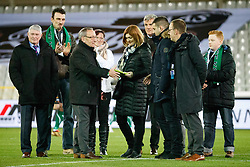January 19, 2018 - Brugge, BELGIUM - Cercle's chairman Frans Schotte, Irina Weber and Marko Weber pictured ahead of a soccer game between Cercle Brugge KSV and Lierse SK, Friday 19 January 2018, on day 23 of the division 1B Proximus League competition of the Belgian championship. BELGA PHOTO KURT DESPLENTER (Credit Image: © Kurt Desplenter/Belga via ZUMA Press)