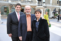 SALMAN RUSHDIE flanked by his sons ZAFAR and MILAN at the Royal Academy of Arts Summer Exhibition Preview Party at Burlington House, Piccadilly, London on 2nd June 2011.