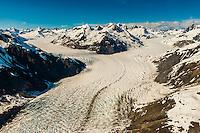 Aerial view of McBride Glacier, Glacier Bay National Park, southeast Alaska USA.