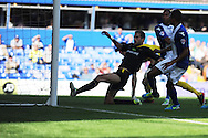 Birmingham City's Jesse Lingard (2nd right) scores his sides 1st goal during the Skybet championship match, Birmingham city v Sheffield Wednesday at St.Andrews in Birmingham, England on Sat 21st Sept 2013. pic by Jeff Thomas/Andrew Orchard sports photography