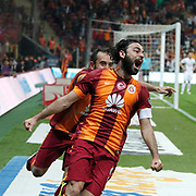 Galatasaray's Selcuk Inan (R) celebrate his goal during their Turkish Super League soccer match Galatasaray between TorkuKonyaspor at the AliSamiYen Spor Kompleksi TT Arena at Seyrantepe in Istanbul Turkey on Friday, 08 May 2015. Photo by Kurtulus YILMAZ/TURKPIX