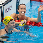 TOKYO, JAPAN - JULY 30:  Gold medal winner  Emma McKeon of Australian celebrates with team mate Cate Campbell of Australian who won bronze in the 100m freestyle for women during the Swimming Finals at the Tokyo Aquatic Centre at the Tokyo 2020 Summer Olympic Games on July 30, 2021 in Tokyo, Japan. (Photo by Tim Clayton/Corbis via Getty Images)
