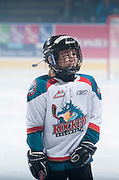 KELOWNA, CANADA - OCTOBER 22: The Pepsi Save on Foods Player of the game stands on the ice on October 22, 2013 at Prospera Place in Kelowna, British Columbia, Canada.   (Photo by Marissa Baecker/Shoot the Breeze)  ***  Local Caption  ***