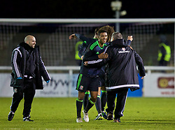BANGOR, WALES - Saturday, November 12, 2016: Wales' captain Tyler Roberts and head coach Geraint Williams celebrate their side's 3-2 victory over England during the UEFA European Under-19 Championship Qualifying Round Group 6 match at the Nantporth Stadium. (Pic by Gavin Trafford/Propaganda)