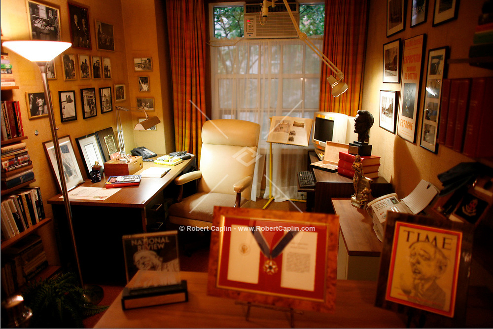 The Last Party at William F. Buckley's Apartment in New York, U.S. as part of an open house for the house-buyers, art-buyers, and friends of Buckley. Shown here is Buckley's study. June 18, 2008. Robert Caplin For The New York Times