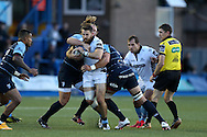 Tommy Seymour of Glasgow Warriors © is stopped by Ellis Jenkins of Cardiff Blues. Guinness Pro12 rugby match, Cardiff Blues v Glasgow Warriors Rugby at the Cardiff Arms Park in Cardiff, South Wales on Friday 16th September 2016.<br /> pic by Andrew Orchard, Andrew Orchard sports photography.