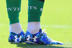 7th May 2017 - Premier League - Liverpool v Southampton - The blue patterned Under Armour boots worn by Southampton goalkeeper Fraser Forster - Photo: Simon Stacpoole / Offside.