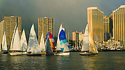 Friday night sailboat race, Ala Wai Yacht Harbor, Ala Moana Beach Park, Waikiki, Honolulu, Hawaii