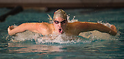 Vineland's Eddie Parks comets in the 100m Butterfly during their swim meet against Cherokee at Gloucester County Institute of Technology in Sewell, NJ, Monday, February 9, 2015.  Photo by Bryan Woolston / @woolstonphoto.