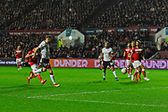 Goal - Mark Beevers (5) of Bolton Wanderers scores a goal to give a 0-1 lead to the away team  during the The FA Cup fourth round match between Bristol City and Bolton Wanderers at Ashton Gate, Bristol, England on 25 January 2019.