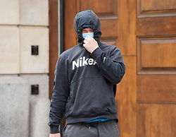 """© Licensed to London News Pictures; FILE PICTURE 22/06/2021; Bristol, UK. KANE ADAMSON (Nike top) outside Bristol Crown Court. Kane Adamson is charged with riot and is one of the defendants facing charges related to a """"Kill the Bill"""" protest and riot against the Police, Crime, Sentencing and Courts Bill. During the protest on 21 March 2021 two police vehicles were burnt out and windows on Bridewell Police Station were smashed. The Police, Crime, Sentencing and Courts Bill proposes new restrictions on protests. Photo credit: LNP."""