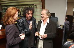 Left to right, actress JANE ASHER, film director TIM BURTON and  GERALD SCARFE at a party to celebrate the opening of Maze - a new Gordon Ramsay restaurant at 10-13 Grosvenor Square, London W1 on 24th May 2005.<br /><br />NON EXCLUSIVE - WORLD RIGHTS
