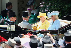 Her Majesty The Queen (centre) and The Duchess of Cornwall arriving with The Prince of Wales (centre) and Lord Fellowes during day two of Royal Ascot at Ascot Racecourse.