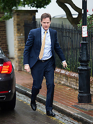 ***LNP HIGHLIGHTS OF THE WEEK 30/05/14***<br /> <br /> © London News Pictures. 26/05/2014. Leader of the Liberal Democrat party, NICK CLEGG, arriving back at his home in Putney, South London, amid calls for hime to resign as leader of the party following poor results in the European elections.. Photo credit : Ben Cawthra/LNP