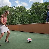 Nederland, Zeist, 31 mei 2017.<br /> Jurrie Groenendijk Senior Category Manager Voetballers at KNVB en Charlotte Bech, senior Consultant bij PWC.<br /> <br /> Foto: Jean-Pierre Jans