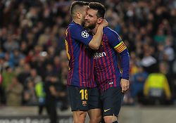 May 1, 2019 - Barcelona, Barcelona, Spain - Messi and Jordi Alba of Barcelona celebrating a goal during UEFA Champions League football match, between Barcelona and Liverpool, May 01th, in Camp Nou stadium in Barcelona, Spain. (Credit Image: © AFP7 via ZUMA Wire)
