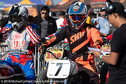 In the pits at the RSD Moto Beach Classic. Huntington Beach, CA, USA. Saturday October 27, 2018. Photography ©2018 Michael Lichter.