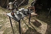 USA, Oregon, Astoria, Ft. Stevens State Park, still life of gear, WWII living history encapment.