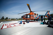 Good Samaritan Hospital's NICU taem trains with a helicopter at Good Samaritan Hospital in San Jose, California, on September 29, 2017. (Stan Olszewski/SOSKIphoto)