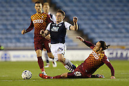Tom Thorpe of Bradford City intercepts Ben Thompson of Millwall. Skybet football league one play off semi final 2nd leg match, Millwall v Bradford city at The New Den in London on Friday 20th May 2016.<br /> pic by John Patrick Fletcher, Andrew Orchard sports photography.
