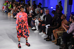 © Licensed to London News Pictures. 13/09/2019. LONDON, UK.  A model presents a look by Wear Polish: Pat Guzik during Fashion Scout SS20, an off schedule show at Victoria House in Bloomsbury Square, on the opening day of London Fashion Week.  Photo credit: Stephen Chung/LNP