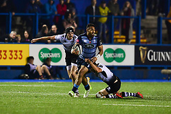 Willis Halaholo of Cardiff Blues is tackled by Marcello Violi of Zebre Rugby Club - Mandatory by-line: Craig Thomas/JMP - 04/11/2017 - RUGBY - BT Sport Cardiff Arms Park - Cardiff, Wales - Cardiff Blues v Zebre Rugby Club - Guinness Pro 14
