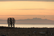 A radar reflector along the Fraser River Delta foreshore in Richmond, British Columbia.  Photographed from the West Dyke Trail in Terra Nova Rural Park.