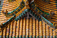 Temple roofs at the Xuan Kong Si, or Hanging Temple, 1800 years old, Beiyue Hengshan Mountain, Datong, Hunyuan County, Shanxi Province, China