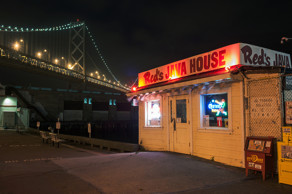 Local Favorite burger joint Red's Java House is seen on an overcast night along the San Francisco Embarcadero. San Francisco, CA