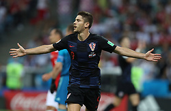 SOCHI, July 7, 2018  Andrej Kramaric of Croatia celebrates scoring during the 2018 FIFA World Cup quarter-final match between Russia and Croatia in Sochi, Russia, July 7, 2018. (Credit Image: © Yang Lei/Xinhua via ZUMA Wire)