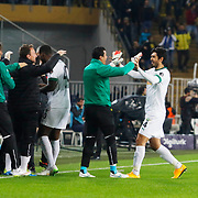 Akhisar Belediyespor's players celebrate goal during their Turkish superleague soccer match Fenerbahce between Akhisar Belediyespor at the Sukru Saracaoglu stadium in Istanbul Turkey on Monday 23 February 2015. Photo by Kurtulus YILMAZ/TURKPIX