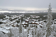 View of the village of Sirkka from Levi fell in Finnish Lapland on 11th February 2018. Levi is a winter sports paradise with 43 ski slopes, 230 km of cross-country ski trails, 20km of Winter hiking routes and 886 km of snowmobile trails