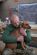 """Mcc0027461 . Daily Telegraph.. A Medic with """"Shitbag"""" one of the camp dogs(named by the previous occupants of the base) who follows the men when out on patrol and stays with them even during firefights ...Photos showing life for the men at CP Qudrat from A Coy, 3 Para in the northern Nad e Ali district of Helmand Province...Helmand 6 December 2010"""